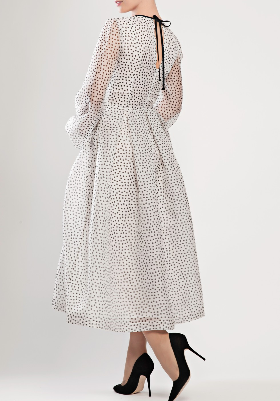 Polka-dot silk-organza dress