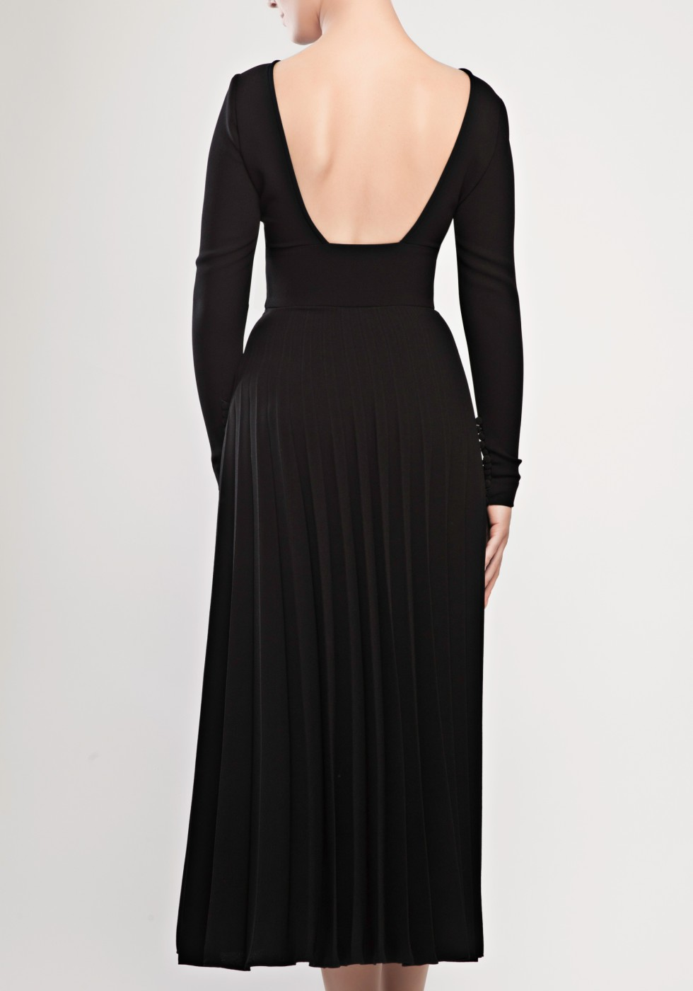 Pleated crepe dress with open back