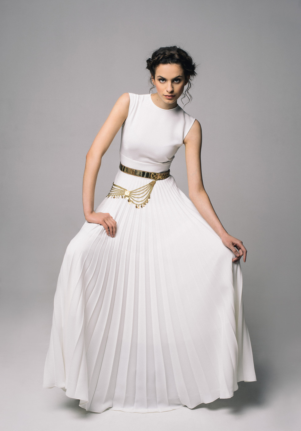 Long sun-ray pleat dress