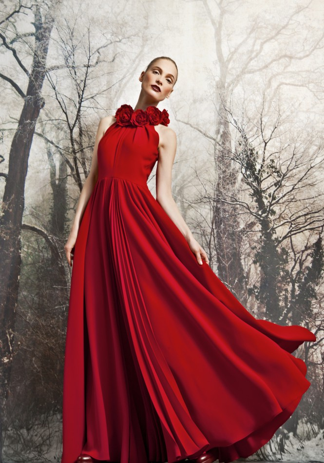 Ball gown with sun-ray pleated front detail