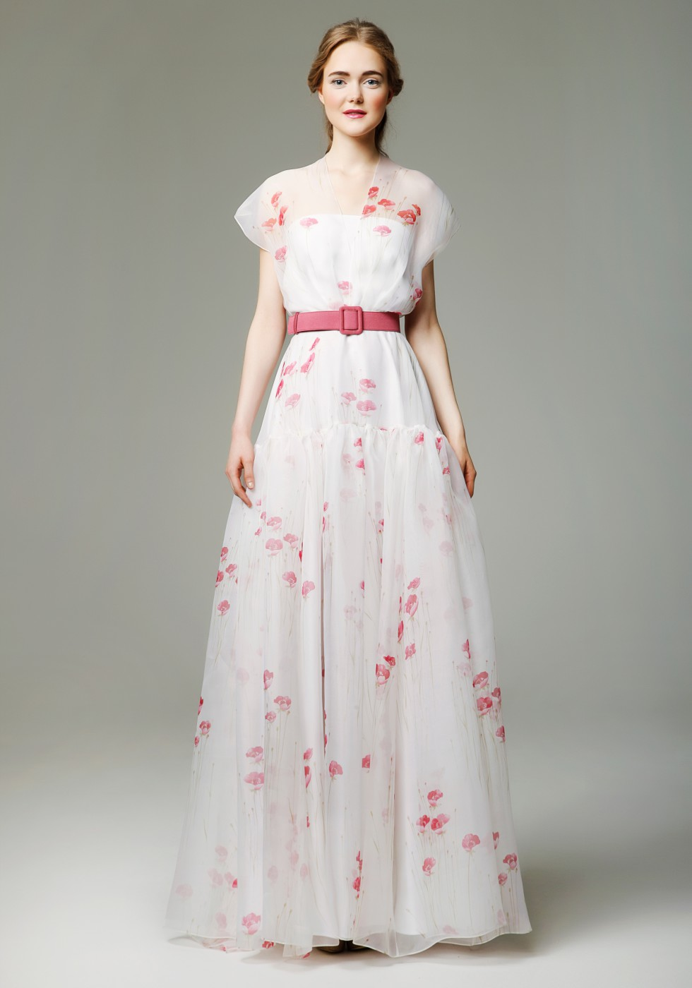 Printed silk organza gown with belt