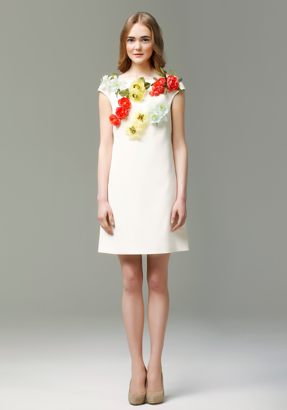 Silk crepe mini dress with flowers