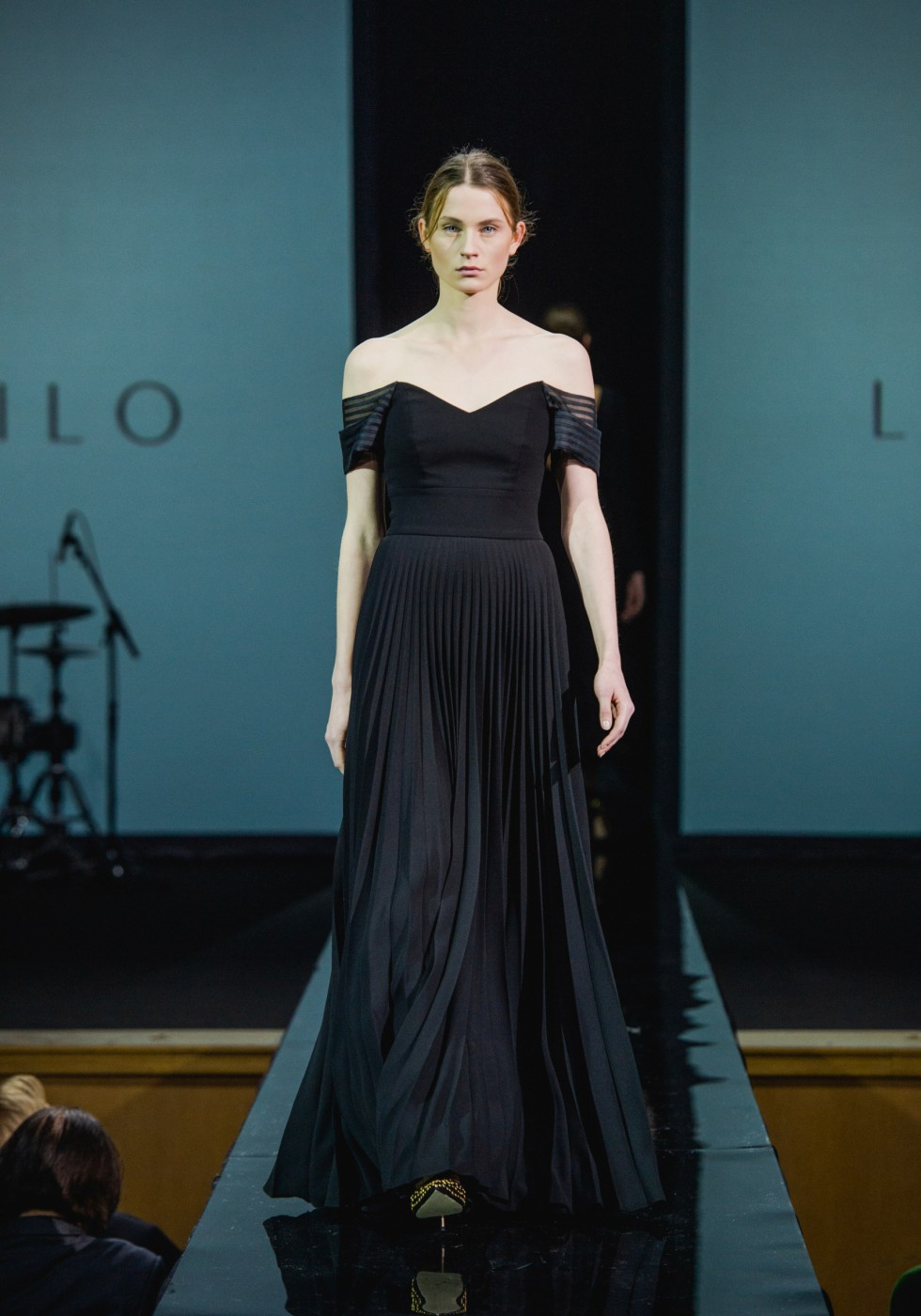 Black swan crepe gown