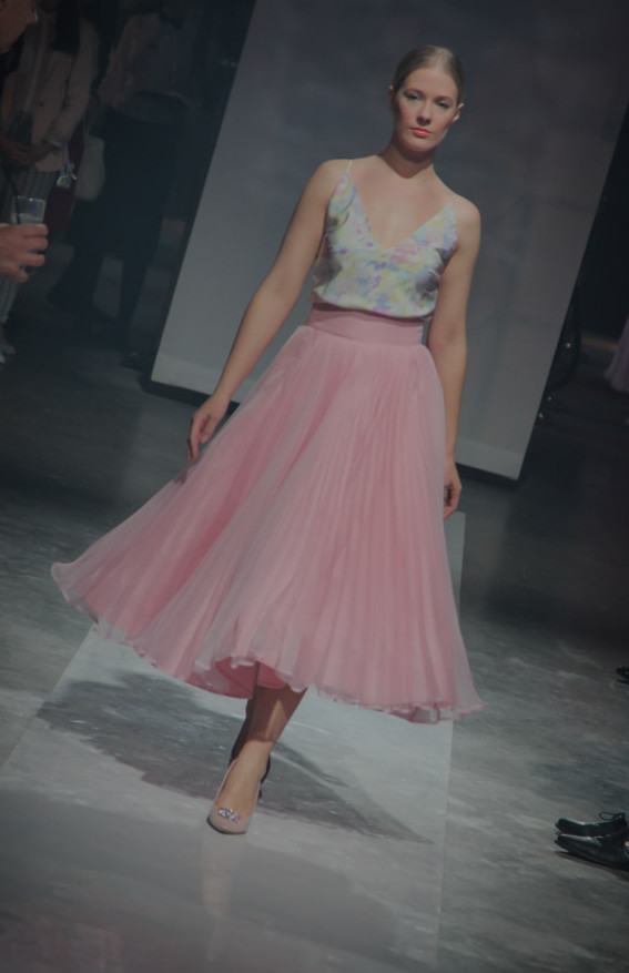 Bias-cut silk top and pleated skirt