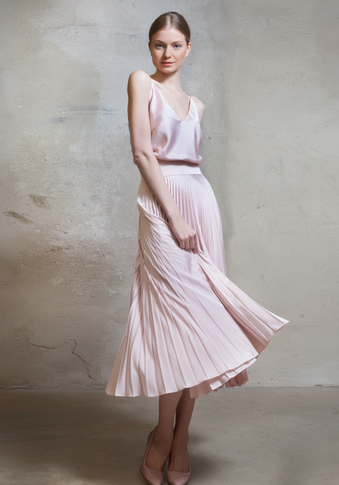 Satin sun-ray pleat dress with straps