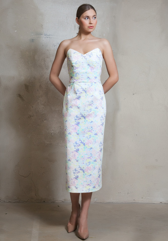 Strapless stretch-cotton dress
