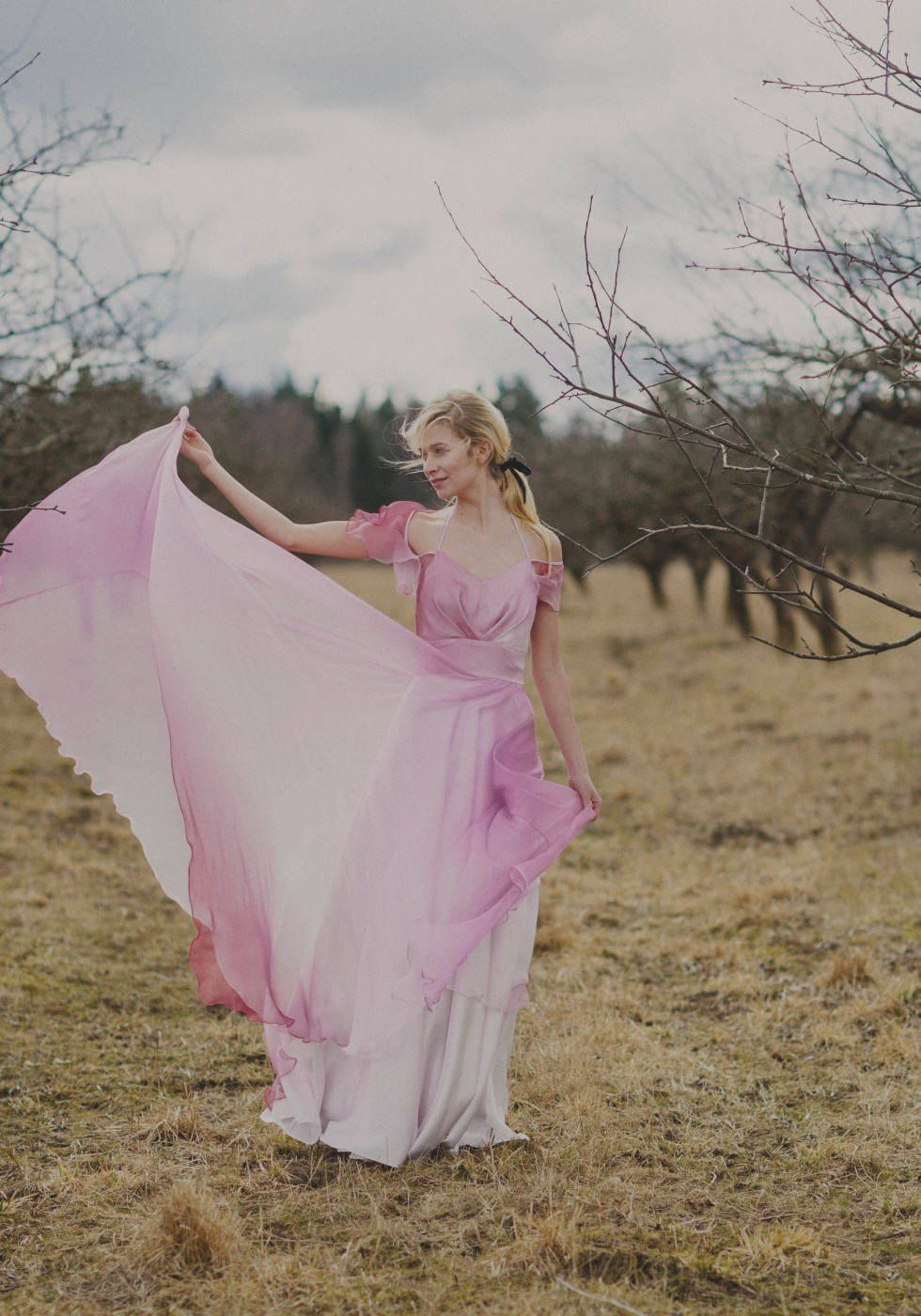 Ombre silk chiffon gown