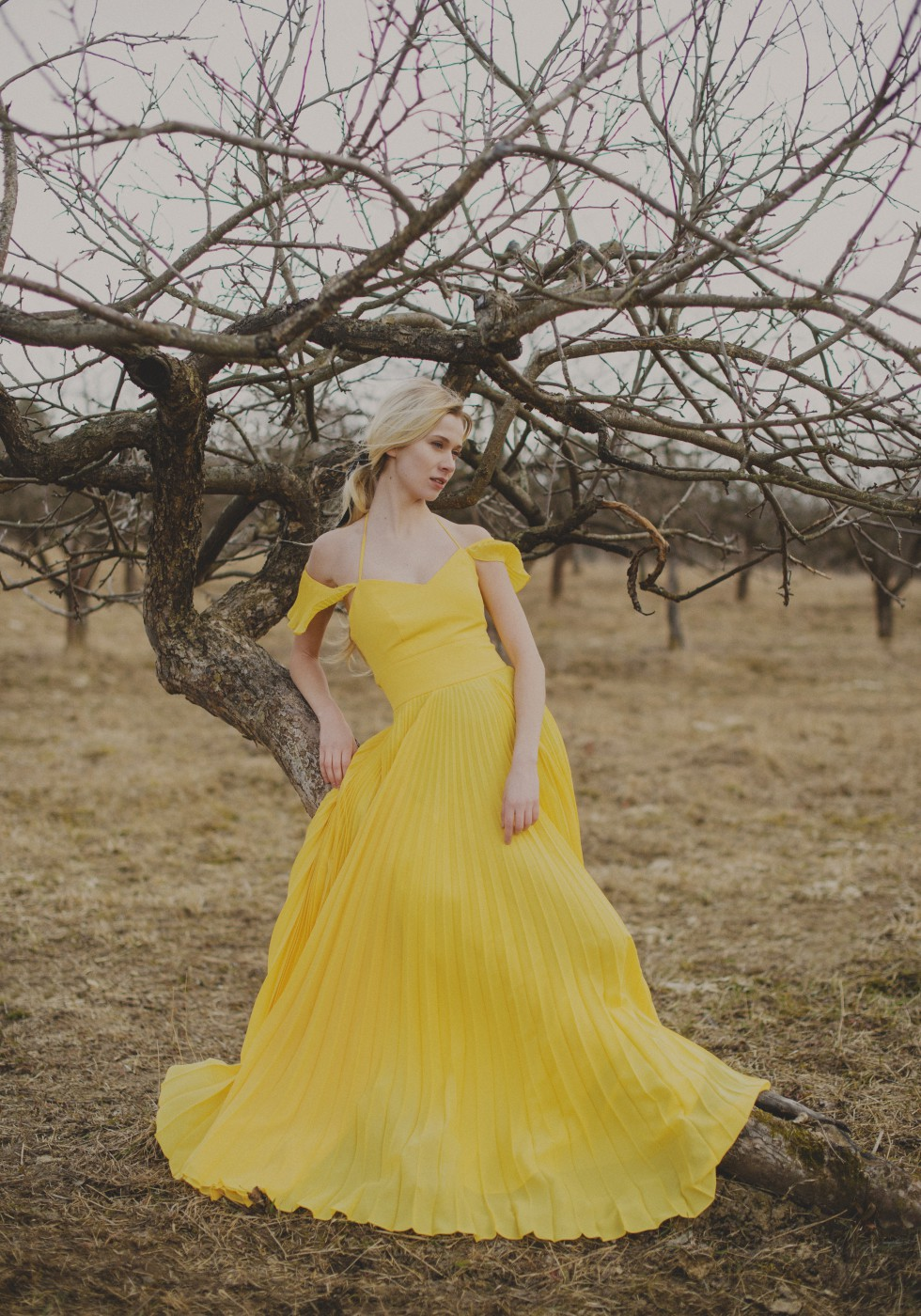 Yellow pleated gown