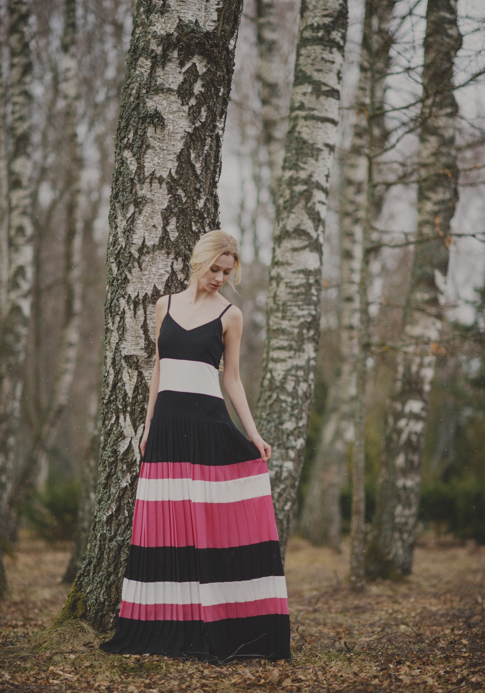 Striped straight pleat maxi dress