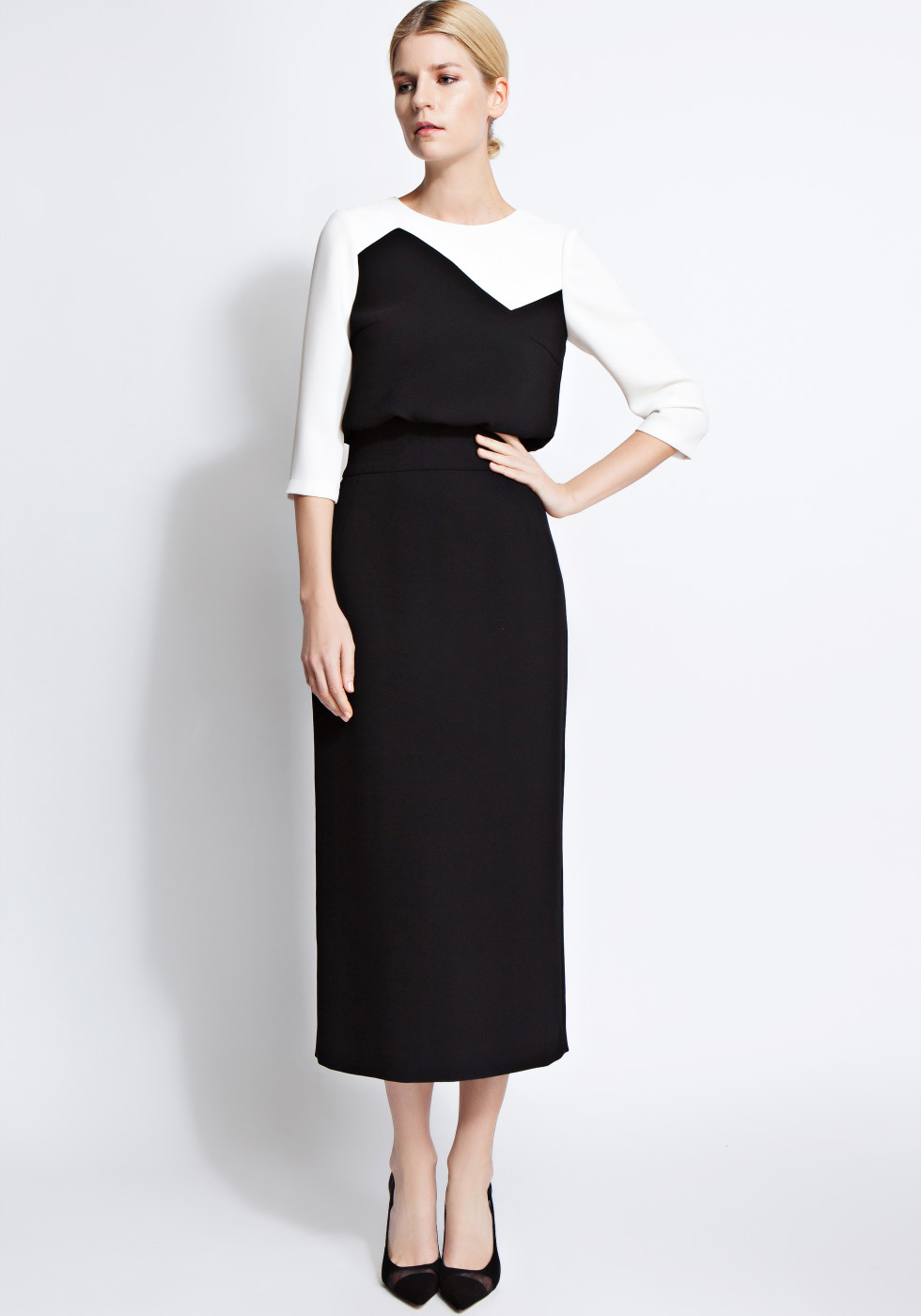 Rita colour-block midi dress