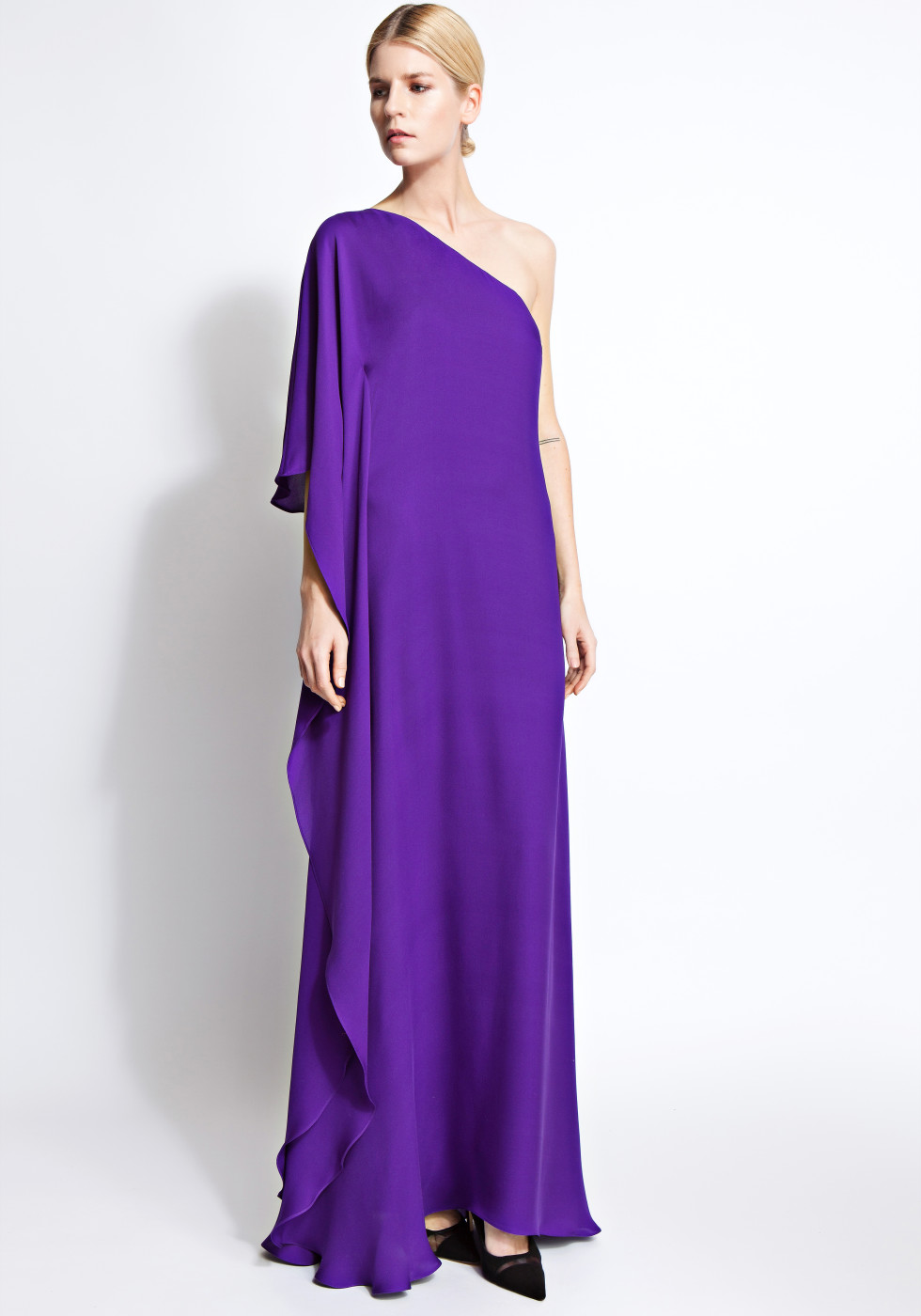 Cara one-shoulder chiffon gown