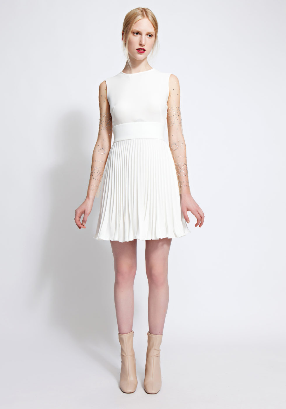 Frida pleated crepe mini dress