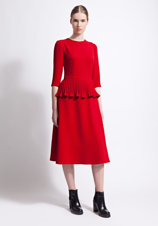 Scarlet Midi Cocktail Dress with Peplum