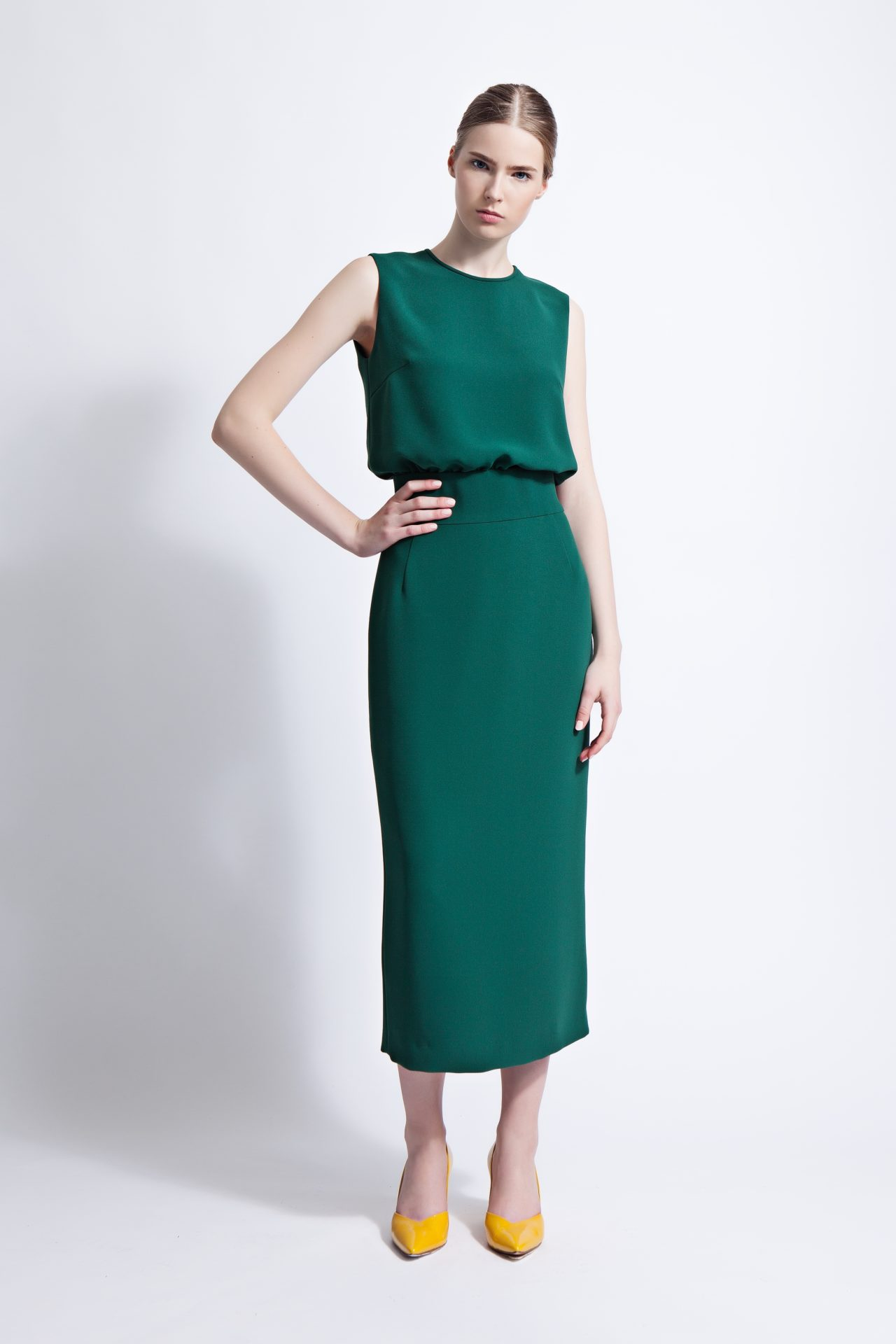 bde87760182b Emerald Green Harper Column Midi Dress | Lilli Jahilo