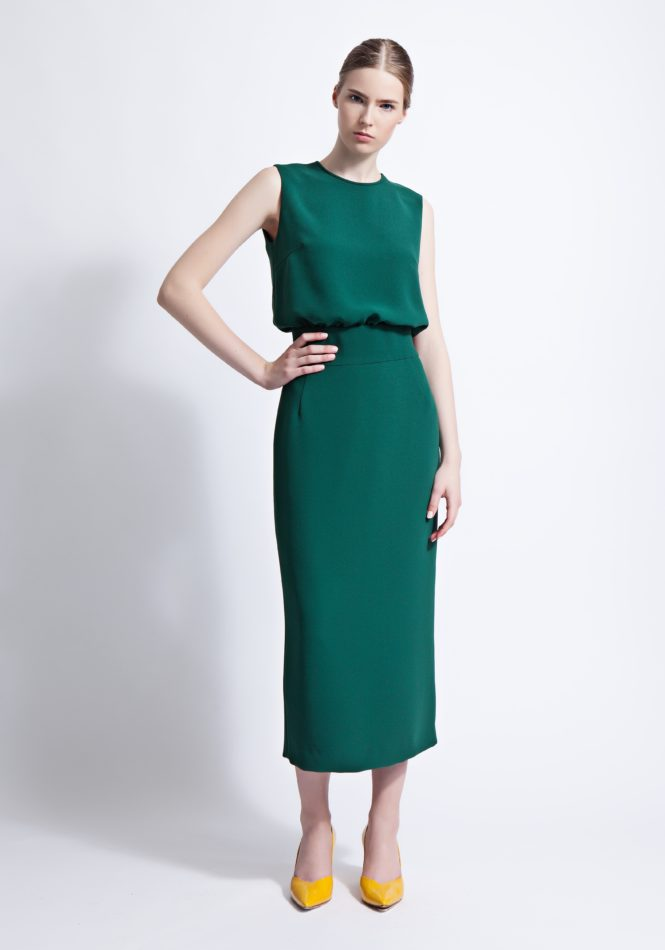 Emerald Green Harper Column Midi Dress