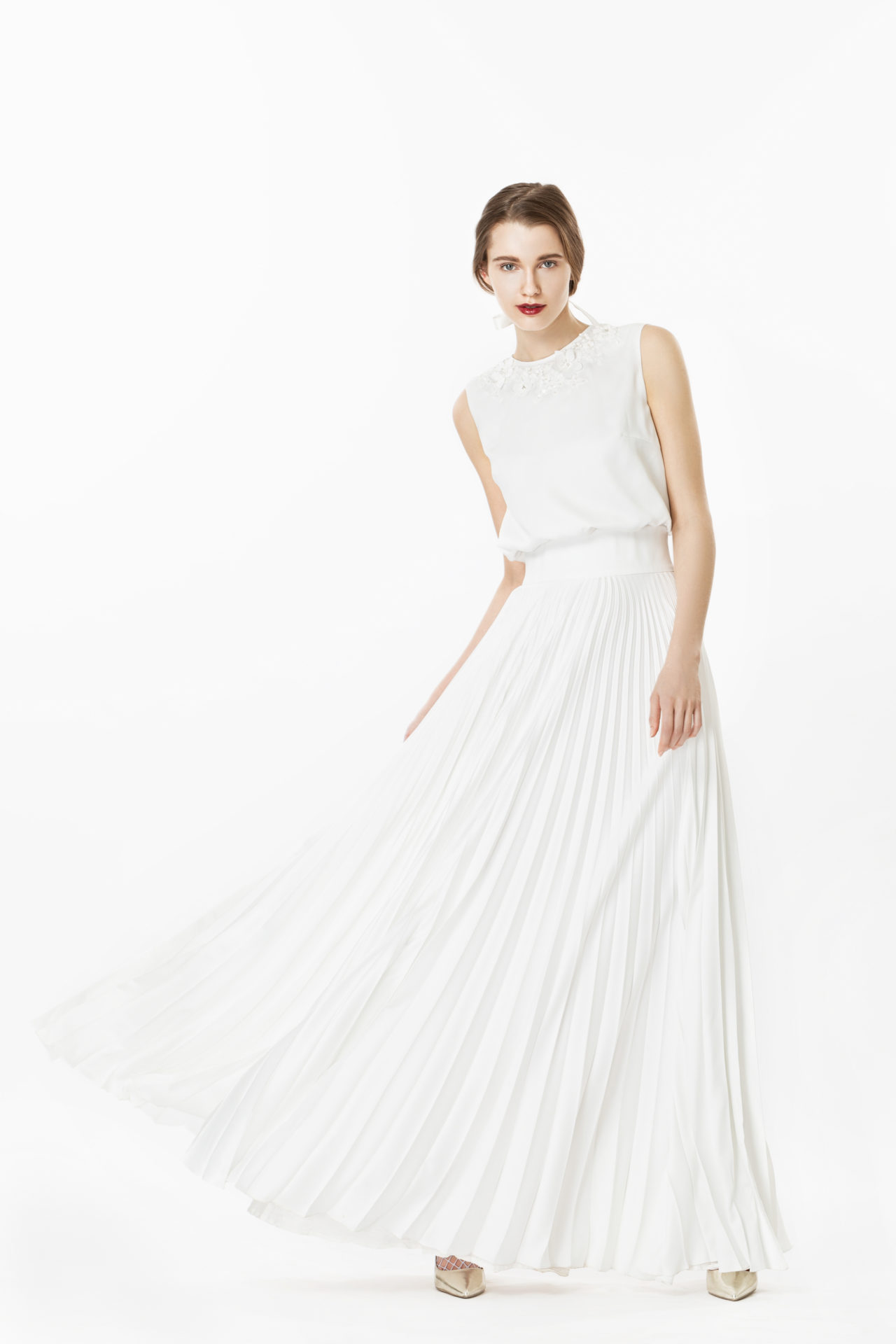 6d57d1aa2bf Iris Pleated Maxi Dress with Lace Appliqué