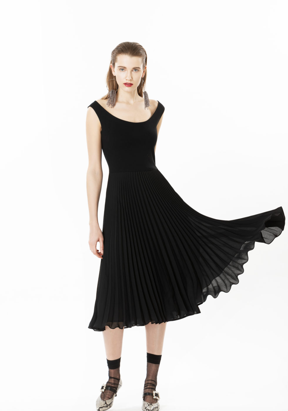 Meghan Jersey and Pleat Dress