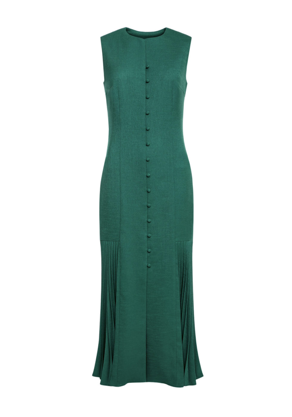 Ylva Buttoned Maxi Dress with Pleated Godet