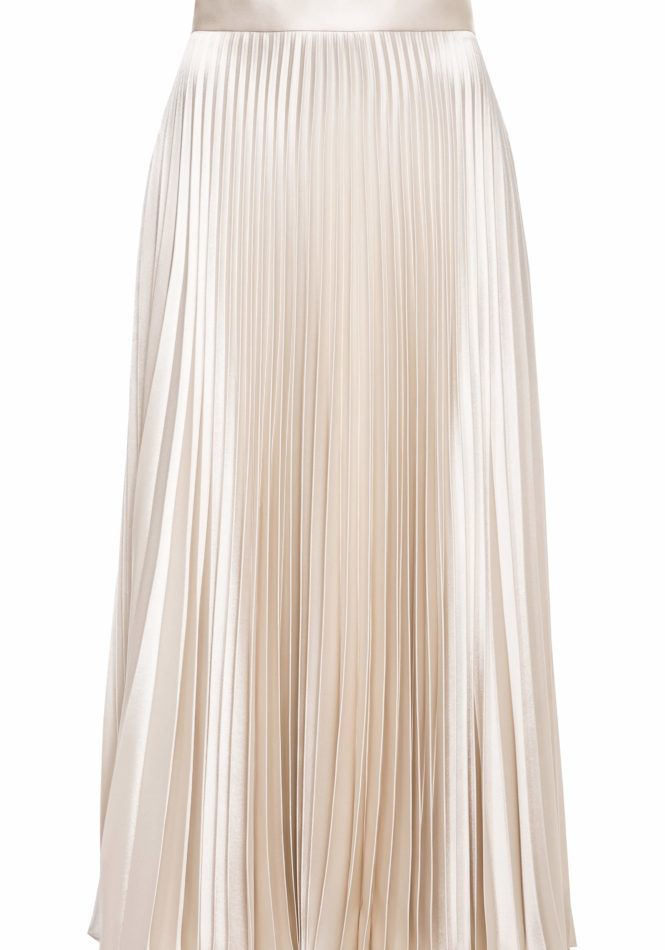 Glacier Pleated Satin Skirt with Pockets