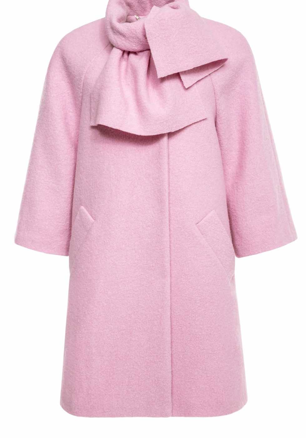 Amy Wool Boucle Coat with Attached Scarf