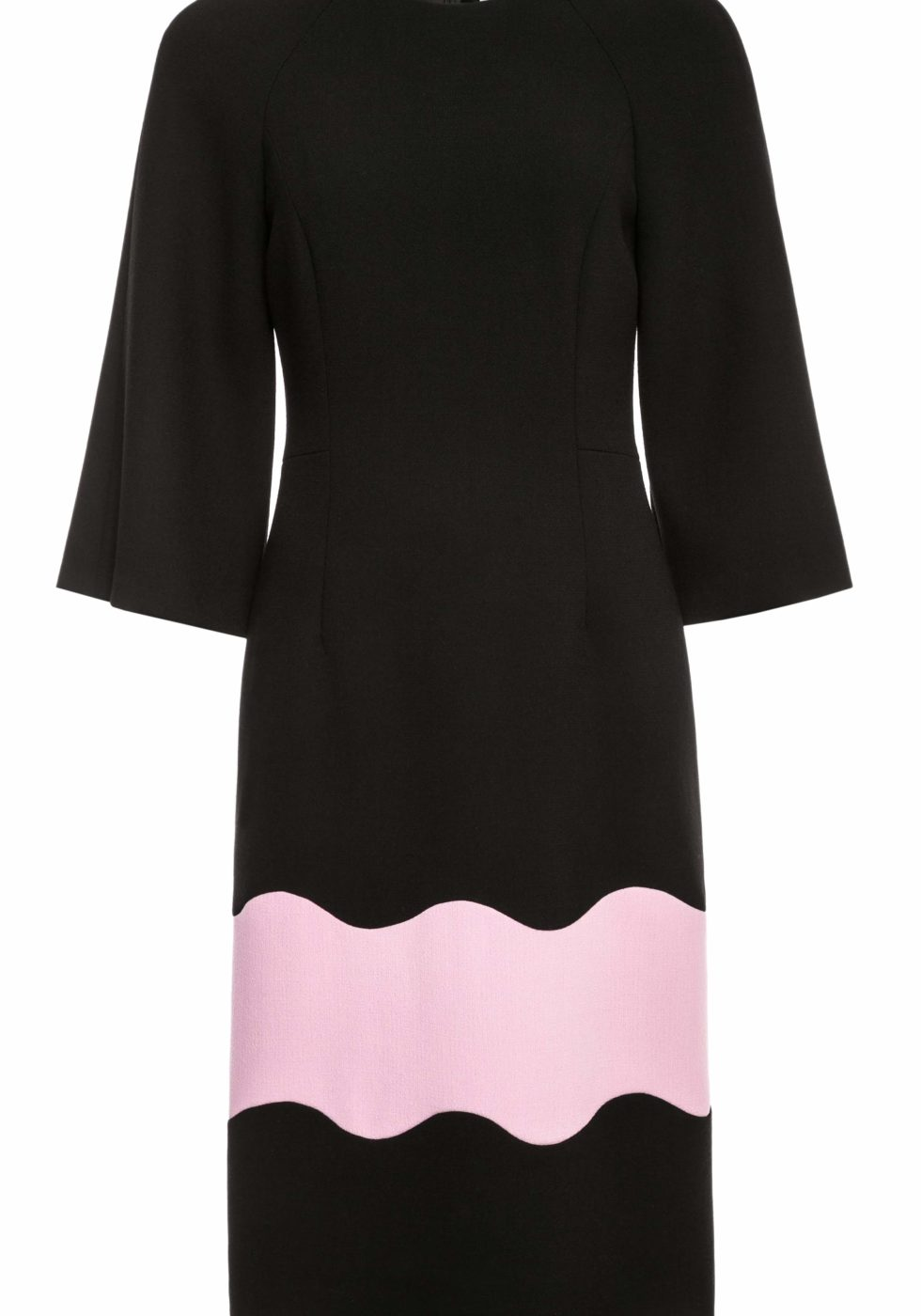 Nordic Wool Crepe Column Dress with Wave Panel