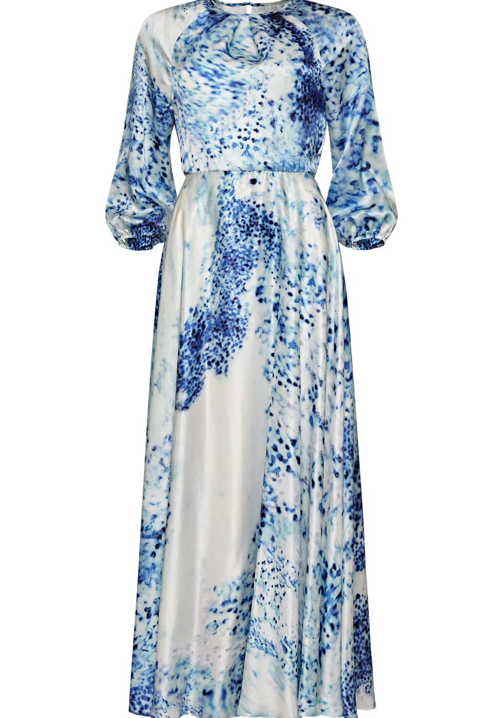 Madlen Porcelain Print Maxi Silk Dress with Bishop Sleeves