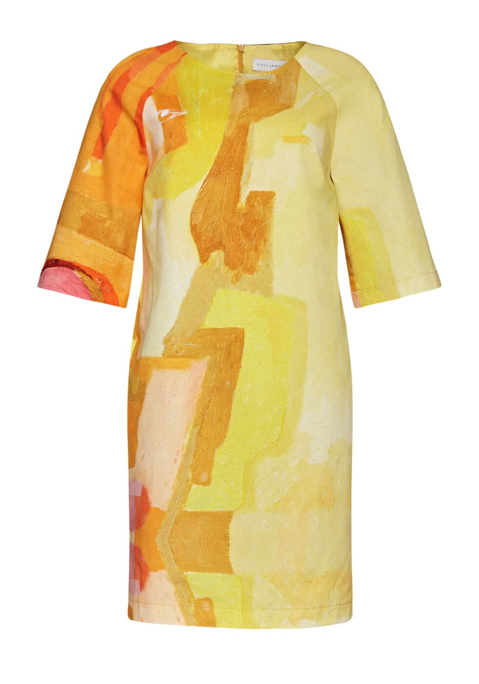 Beata Cotton Dress with Fluted Sleeves and Side Pockets