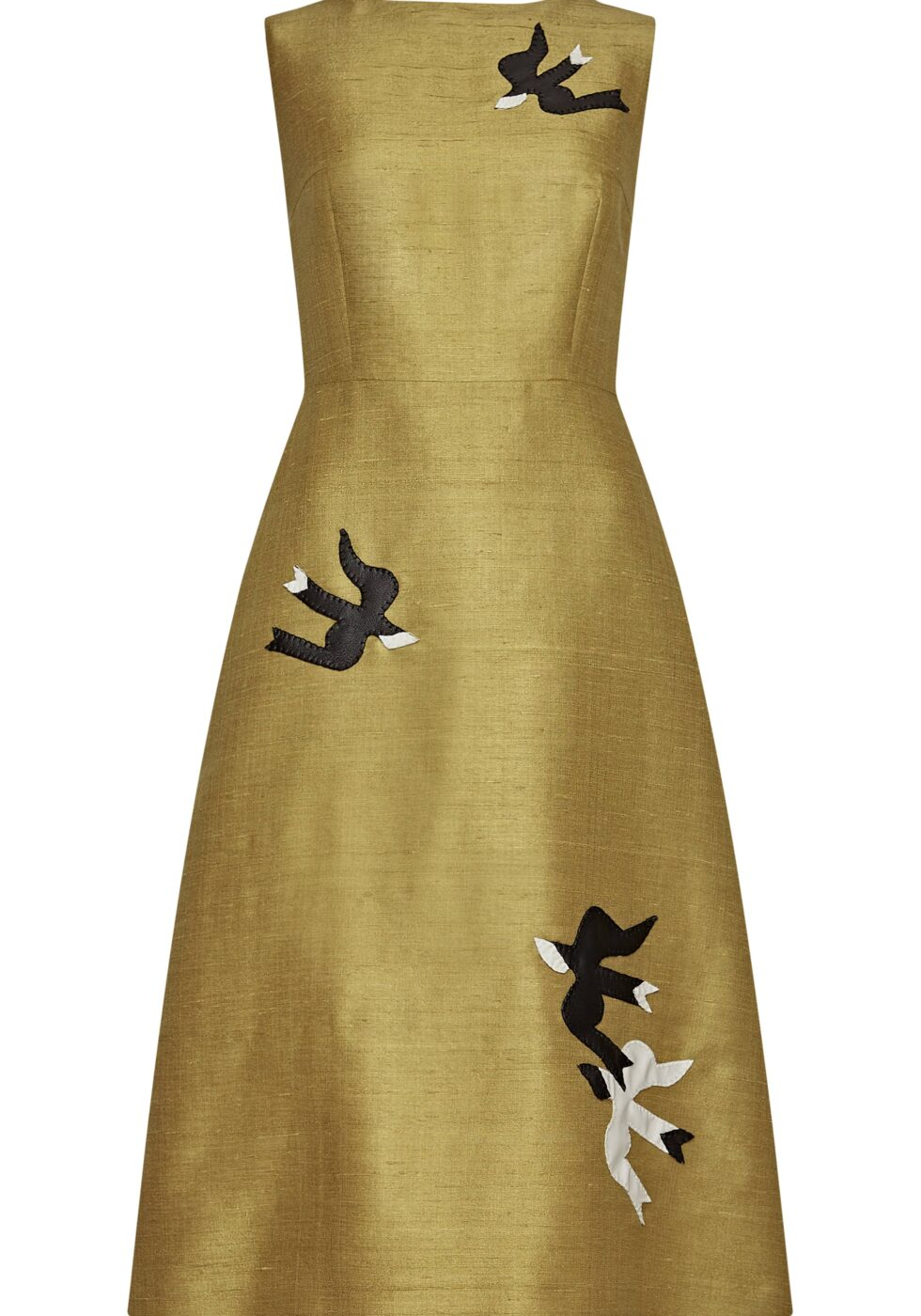 Isolde Silk Blend Dress with Leather Appliqué
