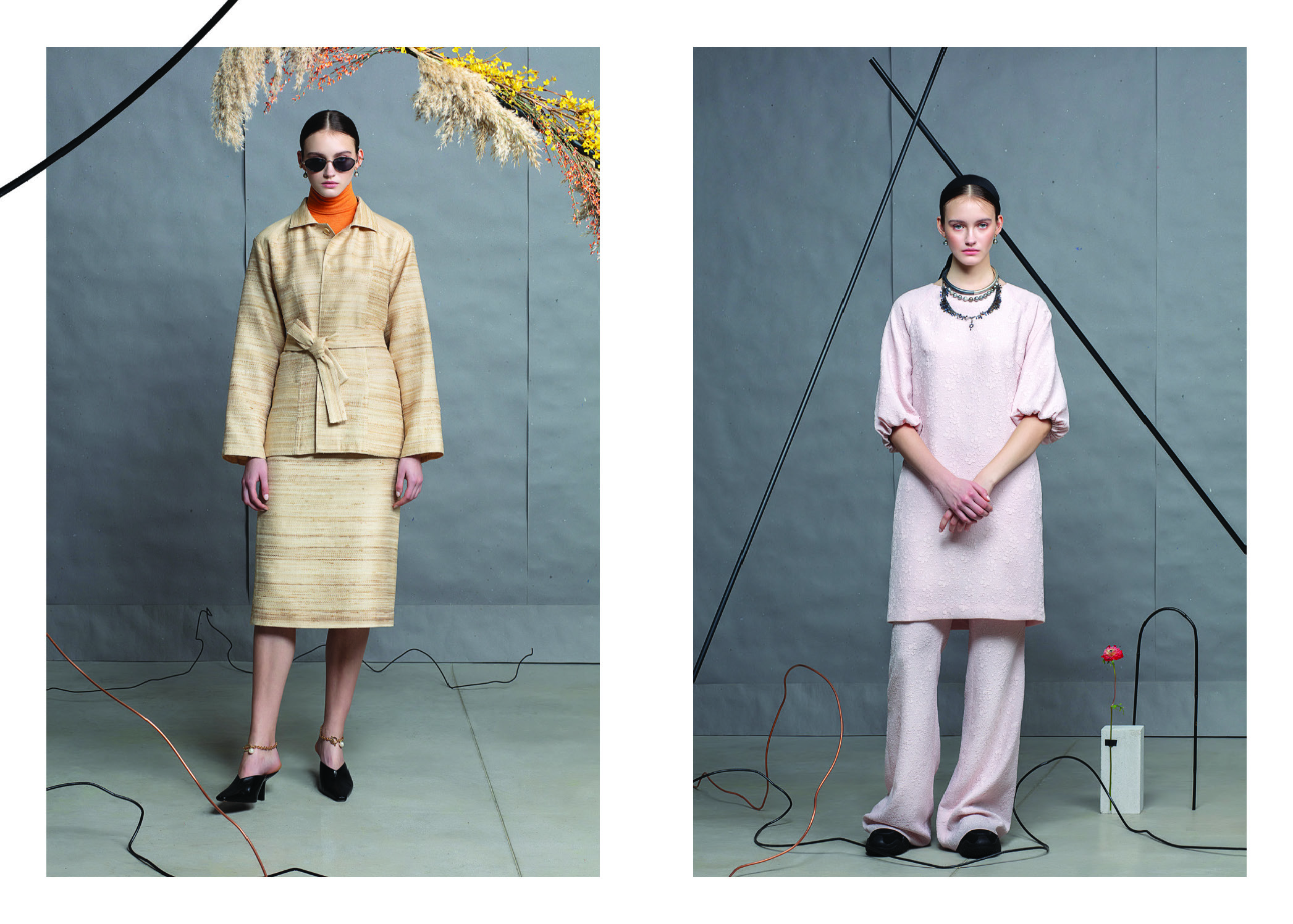 Renzo Jacket/ Karen Skirt in Tussah Silk Blend/ Daphne Dress/ Miller Flared Pants
